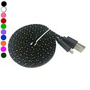 2m 6.6tf micro usb datos trenzadas tela fideos plana cable de carga de sincronización para s4 samsung galaxy s3 (colores surtidos)