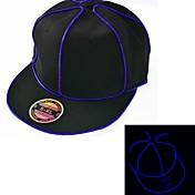 블루 엘 와이어 블랙 라이트 업 모자 스냅 백 1AAA 배터리를 빛 주도
