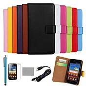 Para Cartera / Soporte de Coche / con Soporte / Flip / Diseños Funda Cuerpo Entero Funda Un Color Dura Cuero Sintético Samsung Ace 2
