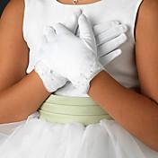 guante de raso guante longitud de la muñeca flor de la muchacha del niño