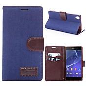 Etui Til Sony Xperia Z3 Sony Xperia Z3 Etui Sony Kortholder med stativ Flipp Heldekkende etui Helfarge Hard PU Leather til Sony Xperia Z3