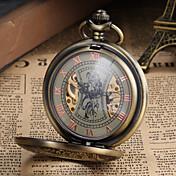 Hombre Reloj de Bolsillo El reloj mecánico Cuerda Manual Huecograbado Aleación Banda Cosecha De Lujo Bronce