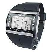 Herre Digital Watch Armbåndsur Digital Alarm Kalender Kronograf LCD Gummi Band Sjarm Svart