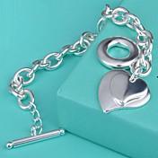 Brazalete tobillo - Plata de ley Corazón Gemelo, Diseño Único, Moda Pulseras y Brazaletes Plateado Para Cumpleaños / Pedida / Regalo