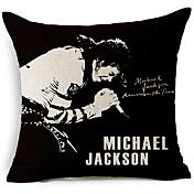 현대적인 스타일 마이클 잭슨의 노래 패턴면 / 린넨 장식 베개 커버