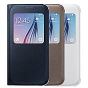 Para Funda Samsung Galaxy con Ventana Funda Cuerpo Entero Funda Un Color Cuero Sintético Samsung S6 edge plus