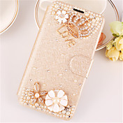 Funda Para Apple iPhone X iPhone 8 iPhone 6 iPhone 6 Plus Diamantes Sintéticos con Soporte Flip Funda de Cuerpo Entero Brillante Dura