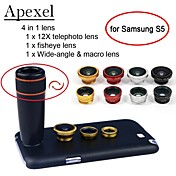 apexel 4 i en 12x svart telelinse + fisheye-objektiv + vidvinkel + makro kameralinsen med saken for Samsung Galaxy s5