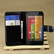 Para Funda  Motorola Cartera / Soporte de Coche / con Soporte / Flip Funda Cuerpo Entero Funda Un Color Dura Cuero Sintético Motorola
