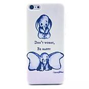grandes orejas de elefante patrón de caja del teléfono de material de la PC para el iphone 5c