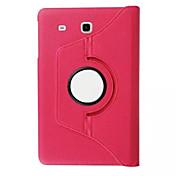 Etui Til Samsung Galaxy med stativ / Flipp / 360° rotasjon Heldekkende etui Ensfarget PU Leather til Tab E 9.6 / Tab E 8.0 / Tab A 7.0