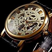 WINNER Hombre Reloj de Pulsera El reloj mecánico Cuerda Manual Huecograbado PU Banda De Lujo Negro