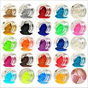 24pcs colores mezclados pequeño polvo arylic delicada clavo en polvo del arte del clavo del brillo papel de arte banda de polvo para las