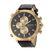 JUBAOLI Hombre Cuarzo Reloj de Pulsera Reloj Militar Reloj Casual Piel Banda Encanto Negro
