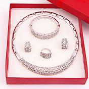 Mujer Conjunto de joyas - Chapado en Oro, Diamante Sintético Lujo, Moda Incluir Plata Para Boda Fiesta Ocasión especial / Anillos / Aniversario / Pedida / Regalo / Pendientes