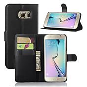 Funda Para Samsung Galaxy Funda Samsung Galaxy con Soporte con Ventana Funda de Cuerpo Entero Color sólido Cuero de PU para S7 edge S7 S6
