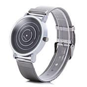 Hombre Cuarzo Reloj de Pulsera Reloj Casual Acero Inoxidable Banda Encanto Reloj creativo único Plata