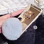 Para Funda iPhone 6 / Funda iPhone 6 Plus Soporte para Anillo / Espejo Funda Cubierta Trasera Funda Un Color Suave SiliconaiPhone 6s
