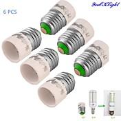 convertidor de adaptador de bombilla de lámpara youoklight® 6pcs e27 a e14 - plata + blanco