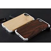 aluminium og tre bambus aluminiumslegering beskyttende tilbake tilfelle for iphone 6s (assortert farge)
