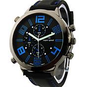 V6 Hombre Cuarzo Cuarzo Japonés Reloj de Pulsera Reloj Militar Esfera Grande Silicona Banda Encanto Negro