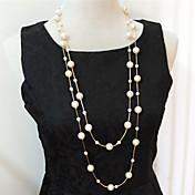 Mujer Strands Collares Collares en capas Collar con perlas Perla Perla Artificial Multi capa joyería de disfraz Joyas Para Boda Fiesta