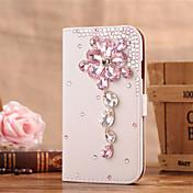 Para Funda Samsung Galaxy Soporte de Coche / Diamantes Sintéticos / Flip Funda Cuerpo Entero Funda Flor Cuero Sintético SamsungS6 edge /