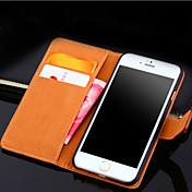 제품 iPhone X iPhone 8 iPhone 8 Plus iPhone 6 iPhone 6 Plus 케이스 커버 카드 홀더 지갑 스탠드 플립 풀 바디 케이스 한 색상 하드 천연 가죽 용 iPhone X iPhone 8 Plus iPhone 8