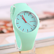 Mujer Cuarzo Reloj de Pulsera Gran venta Caucho Banda Encanto Casual Moda Negro Blanco Azul Rojo Naranja Verde Rosa Morado Amarillo Color