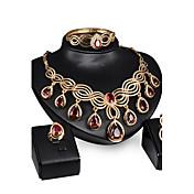 Diamante sintético Conjunto de joyas - Zirconia Cúbica Vintage, Fiesta, Enlace / Cadena Incluir Dorado / Rojo Para / Pendientes / Collare