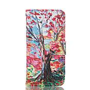 Modelo del árbol de la PU cuero caso de cuerpo completo con ranura para tarjetas y soporte para el iPhone 6 / 6s