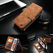 용 Samsung Galaxy S7 Edge 카드 홀더 / 지갑 / 스탠드 / 플립 케이스 풀 바디 케이스 단색 하드 천연 가죽 Samsung S7 edge / S7 / S6 edge plus / S6 edge / S6 / S5