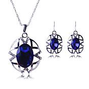 Mujer Juego de Joyas Circonita Elegant Joyería de Lujo Europeo Piedras preciosas sintéticas Legierung 1 Collar 1 Par de Pendientes Para