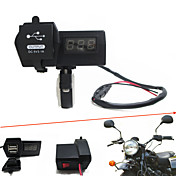 12v-24v vanntett motorsykkel bil Dobbelt usb lader med LED digitale voltmeter handbar montere