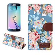Para Funda Samsung Galaxy Cartera / Soporte de Coche / con Soporte / Flip Funda Cuerpo Entero Funda Flor Cuero Sintético SamsungS6 edge