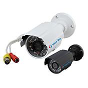 yanse® 1000tvl 3,6 mm de aluminio del metal de la cámara D / N del CCTV IR 24 LED de seguridad a prueba de agua con cable 6624cf