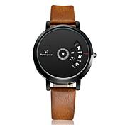 V6 Hombre Reloj de Pulsera Reloj creativo único Cuarzo Piel Banda Plata