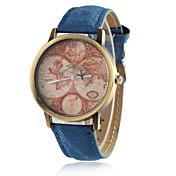 Mujer Reloj de Vestir Reloj de Moda Cuarzo Reloj Casual PU Banda Vintage Mapa del Mundo Negro Blanco Azul Rojo Verde Amarillo