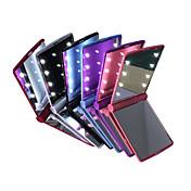 ledet speil mini bærbar folding kompakt hånd kosmetisk utgjør lommespeil med 8 LED lys for kvinner jenter dame