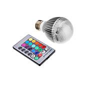 3W 300 lm E26/E27 LED-globepærer leds Integrert LED Fjernstyrt RGB AC 85-265V