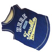Perro Camiseta Ropa para Perro Letra y Número Azul/Amarillo Algodón Disfraz Para mascotas