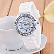 Geneva Mujer Cuarzo Reloj de Pulsera La imitación de diamante Reloj Casual Silicona Banda Destello Casual Moda Negro Blanco Azul Verde