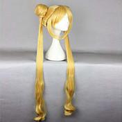 Syntetiske parykker Bølget Med hestehale Med lugg Varme resistent tetthet Lokkløs Dame Blond Cosplay-parykk Veldig lang Syntetisk hår