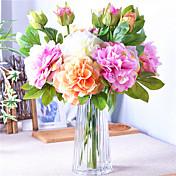 1 Gren Polyester Plastikk Peoner Bordblomst Kunstige blomster