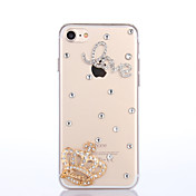 Para Funda iPhone 7 Funda iPhone 7 Plus Funda iPhone 6 Carcasa Funda Diamantes Sintéticos Cubierta Trasera Funda Corazón Dura