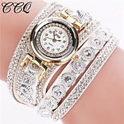 Mujer Reloj Pulsera Reloj de Moda Cuarzo Diamantes Sintéticos La imitación de diamante Piel Banda Destello Negro Blanco Plata