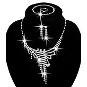 Dame Smykke Sett Brude smykker sett Mote kostyme smykker Kobber Strass Sølvplett Halskjeder Øreringer Ringe Armbånd Til Fest Daglig