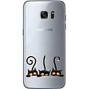 Funda Para Samsung Galaxy Samsung Galaxy S7 Edge Diseños Funda Trasera Gato Suave TPU para S7 edge S7 S6 edge plus S6 edge S6