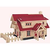 Rompecabezas Puzzles de Madera Bloques de construcción Juguetes de bricolaje Casa 1 Madera Marfil