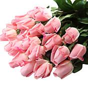 12 Gren Plastikk Ekte Touch Roser Bordblomst Kunstige blomster